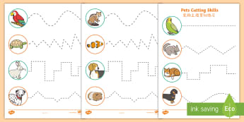 Pets Themed Cutting Skills Worksheet / Activity Sheets English/Mandarin Chinese - Pets, cat, dogs, rabbits, worksheets, cutting, scissor skills, fine motor, , worksheet / activity sheet, EAL