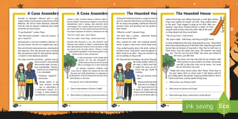 The Haunted House Differentiated Reading Comprehension Activity English/Portuguese - Halloween, october, festival, autumn, celebration, spooky, ghosts, witch, zombies, eal
