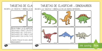 Tarjetas de clasificar: Dinosaurios - Dinosaurios, pre-historia, dinos, tiranosaurio, estegosaurio, triceratops, proyectos, aprendizaje ba