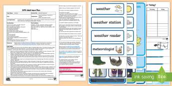 EYFS Weather Reporters Adult Input Plan and Resource Pack - Understanding the World, The World, Sun, Rain, Wind, Snow, Senses, Familiar World, Outdoors, Early Y