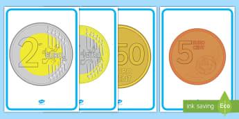 Euromünzen Poster für die Klassenraumgestaltung - Geld, Euro, Münzen, Euros, Cent, ,German