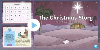 KS2 Advent Calendar The Story of Christmas PowerPoint - nativity, jesus, 3 kings, shepherds, mary, joseph, bethlehem, bible