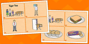 The Tiger Who Came to Tea Story Sequencing (4 per A4) - tiger, sequencing, visual aids, story sequencing, tea, the tiger who came to tea, word mat, writing aid, mat, play, Judith Kerr, girl, story book