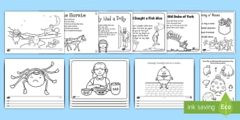 Nursery Rhyme Colouring Sheets Pack - nursery, rhyme, rhymes, colour, colouring, worksheets, pack, EYFS,