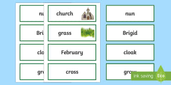 St. Brigid's Cloak Word Cards - ROI St. Brigid's Day , Irish
