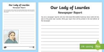 Our Lady of Lourdes Newspaper Report Writing Worksheet / Activity Sheet - Our Lady of Lourdes, Virgin Mary, word search, vocabulary, Lourdes, Marian shrine, grotto, writing,