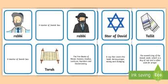 Judaism Definitions Matching Cards  - Judaism Word Cards Definitions - judaism, word cards, definitions, word, cards,torah,judasim,shabbat