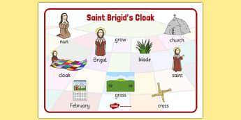 Saint Brigid's Cloak Word Mat - saint brigid, irish history, ireland, saint, patron, vocabulary mat
