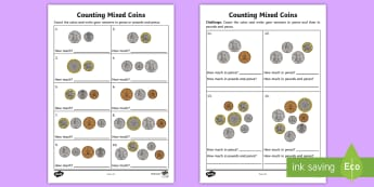Counting Mixed Coins Worksheet / Activity Sheet - UK, currency, money,counting, worksheet, UK, pound, pence, coin