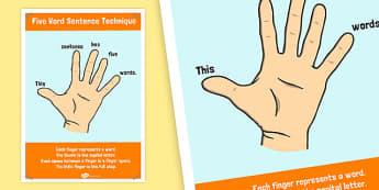 5 Word Sentence Technique Poster - sentence, technique, poster