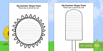 Summer Shape Poetry English/Romanian - Summer Shape Poetry Templates - seasons, weather, poems, poem, waether, poerty, WHEATHER, seaons, we