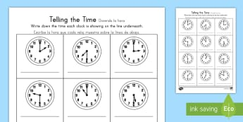 Hour and Half Past Times Worksheet / Activity Sheet US English/Spanish (Latin) - O\'clock and Half Past Times Worksheet / Activity Sheet - o\'clock, half past, times, activity,Timw, workshe