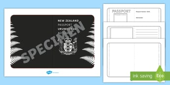New Zealand Passport Template Activity - New Zealand Passport Template - passport, airline, NZ, new zealand, kiwi, tempelte, travel, holiday,
