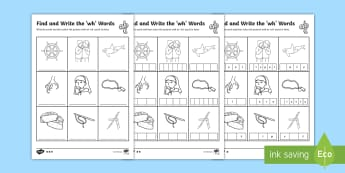 Find and Write the wh Words Differentiated Activity Sheets  - Phonics activity, phase 5, letters and sounds, wh sound, find the sound, sort the pictures, write th