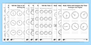 mathematics and numeracy primary  primary resources  key stage tell the time differentiated worksheets maths resource pack