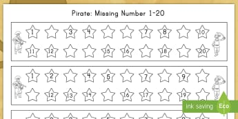 Pirate Missing Number 1 20 Activity Sheet - missing numbers, counting, numeracy, math, pirate, worksheet