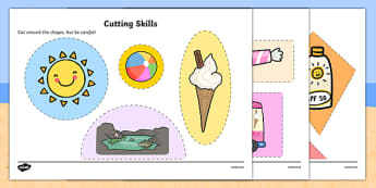 Seaside Themed Cutting Skills Activity Sheet Pack - cut, fine motor skills, worksheet