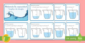 Tarjetas de desafío: Midiendo la capacidad - matemáticas, matemática, matematica, matematicas, medida, medidas, capacidad, capacidades, litros,