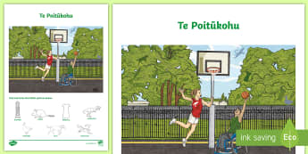 Basketball Word and Picture Matching Activity Sheet Te Reo Māori - Basketball, Maori Language Week, Picture Word Find, Picture Matching, Activity Sheet