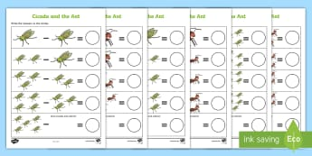 Cicada and the Ant Subtraction Differentiated Number Activity Sheet - Traditional Thai Tales, fables,