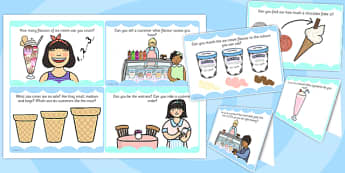 Ice Cream Parlour Role Play Challenge Cards - challenge, cards
