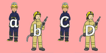 A to Z Alphabet on Firefighters - fire, fire service, fire fighter, brigade, fireman, uniform, people who help, alphabet, letters,