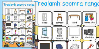 Trealamh seomra ranga Vocabulary Poster Gaeilge - roi, irish, gaeilge, classroom objects, vocabulary, poster, display