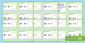 Subtraction Up to 20 with a Number Line Challenge Cards - English/Romanian - Subtraction Up to 20 with a Number Line Challenge Cards - subtraction, up to 20, number line, challe