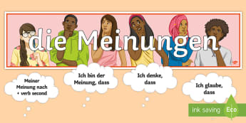 Opinions Display Pack German - Common Opinion Phrases, German Conversation starters, Role Play, Reference, Writing, Speaking ,Germa