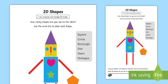 Recognise 2D Shapes Activity Sheet - recognise, 2D, dimensional, label, classify, create, triangle, square, rectangle, heart, star, penta