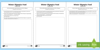 KS2 Winter Olympics Food Differentiated Activity Sheets - English/Mandarin Chinese - Advertise, Costing, South Korea, Cuisine, Budget, worksheet, EAL