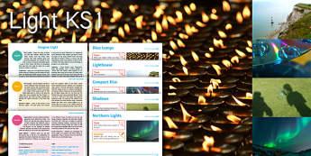 Imagine Light KS1 Resource Pack - Diwali, Diva Lamps, Lighthouse, Light, Compact Disc, Shadows, Northern Lights