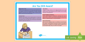 Are You OCD Aware? Adult Guidance A4 Display Poster  - SEN, SEND, OCD, Learning Support, Inclusion, Noticeboard, SENCo