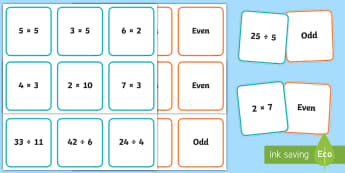 Odd and Even Number Problems Matching Cards - Australian Curriculum Number and Algebra, year 4, odd, even, odd and even, four operations, odd and