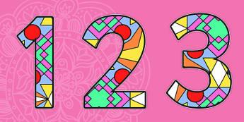 Diwali Rangoli Pattern Display Numbers - Diwali, religion, hindu, hanoman, Display numbers, numbers, display numerals, display lettering, display numbers, display, cut out lettering, lettering for display, display numbers, rangoli, sita, ravana, pooj