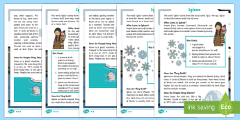 KS1 Igloos Differentiated Fact File - igloo, igloos, homes, house, shelter, snow house, snow hut, Inuit, Inuk, Eskimos, snow, ice, The Arc