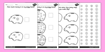 How Much Money Is In My Piggy Bank? Specific Amounts Worksheets - money