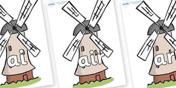 Phase 3 Phonemes on Windmills - Phonemes, phoneme, Phase 3, Phase three, Foundation, Literacy, Letters and Sounds, DfES, display