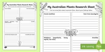 Australian Plants Fact File Activity Sheet  - Australian flora, Australian plants, gum tree, wattle, Australian natives, ACSSU044,Australia