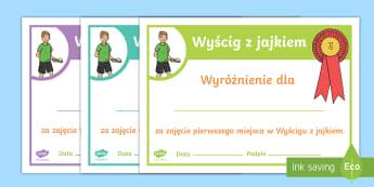 Certyfikaty Wyścig z jajkiem Dzień Sportu - jajko, jajkiem, wyścig, łyżka, łyżce, łyżką, wf, w-f, wychowanie, fizyczne, sport, sportu, d