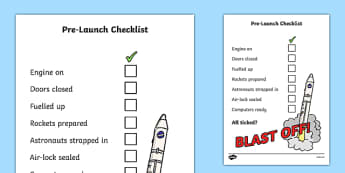 Space Travel Pre Launch Checklist - check list, space, travel, pre launch checklist, space ship, rockets, engine, door closed