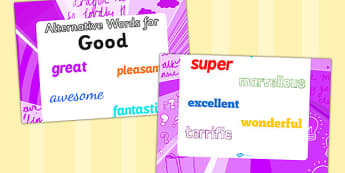 Alternative Words For Good Display Poster (Large) - alternative words poster, alternative words for good, synonym posters, powerful words, better words