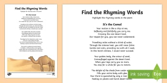 Camel Poem Find the Rhyming Words Activity Sheet - Science: Living World, camel, poem, English, Literacy, poster, display, rhyme, UAE, middle east, act