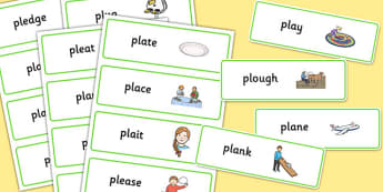 PL Sound Word Cards - pl sound, word cards, pl, sound, word, cards