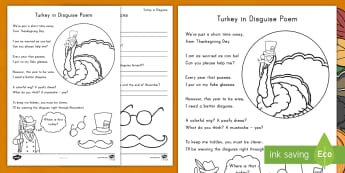 Turkey in Disguise Poem - Reading, Poem, Comprehension, Thanksgiving, Turkey in Disguise, Poem Comprehension