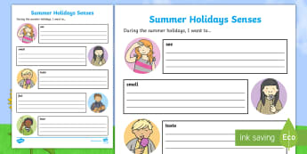 Summer Holiday Senses Worksheet / Activity Sheet - English, Summer holidays, reflection, transition, senses, end of school, school holiday, worksheet