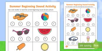 Summer Words Beginning Sounds Activity Sheet - summer words, summer, words, beginning sounds, beginning, sounds, activity sheet, activity