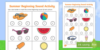 Summer Words Beginning Sounds Worksheet / Activity Sheet - summer words, summer, words, beginning sounds, beginning, sounds, worksheet / activity sheet, activity