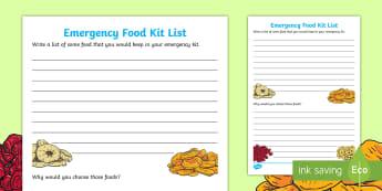 Emergency Food Kit List Activity - Science, Dehydration, Fruit, Senses, Observations, Year 1-3, list, emergency