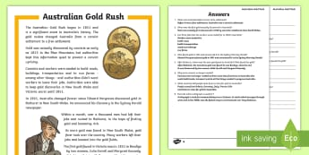 Gold Rush Australia Differentiated Activity Sheets-Australia - Gold Rush, Eureka Stockade, gold, history, colonial, Australia